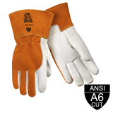 Premium Heavyweight Grain Cowhide With Split Cowhide Back MIG Welding And Metal Fabricator Gloves - ANSI A6 Cut Resistant, Long Cuff
