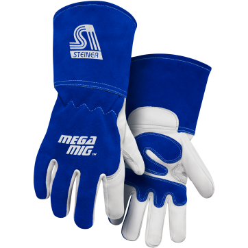 /MegaMIG™ Premium Heavyweight Grain Goatskin With Split Cowhide Back MIG Welding Gloves - Cotton Lined, Long Cuff
